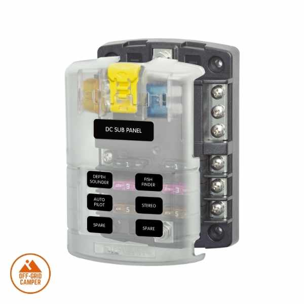 Blue Sea Systems 6 way fuse box with ground